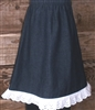 Girl A-line Skirt Navy Denim with Cream eyelet ruffled lace size 10 X-long