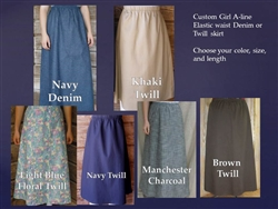 Denim or Khaki Classic A-line Skirt Girls