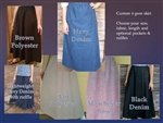 Ladies Skirt 6 Gore Denim Navy or Black, & Prints all sizes