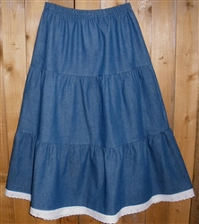 Girl Tiered Skirt in Denim with Lace all sizes