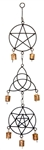 "Wholesale Pentacle, Triquetra & 6 point Star with Pentacle Windchime 24""H"