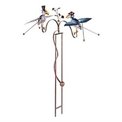 Continental Art Center Rustic Painted Metal Balancer Double Birds With Glasses Garden Stake