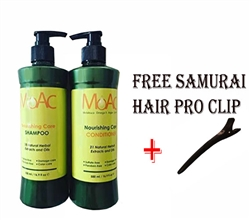 Moac Nourishing Care Shampoo AND Conditioner SET 16.9 fl oz With Free Hair Clip