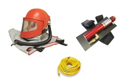"Apollo 600 HP Supplied Air Respirator with Climate Control Tube & 50 Ft Respirator Hose With 3/8"" Fittings Both EndsPackage"