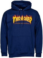 THRASHER FLAME HOODIE NAVY SMALL