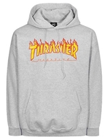 THRASHER FLAME HOODIE GREY SMALL