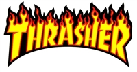 THRASHER FLAME LOGO SMALL STICKER - BLACK/YELLOW/RED
