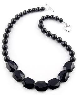 Black Necklace wtih Swarovski Pearls & Crystals by Farfallina