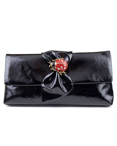Kenneth Jay Lane Lady Bug Black Clutch Bag