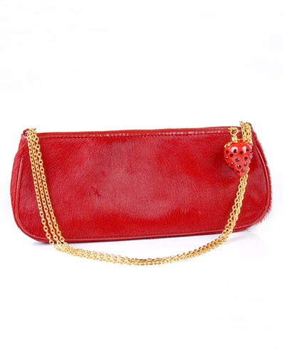 Kenneth Jay Lane Strawberry Calf Hair Clutch Bag