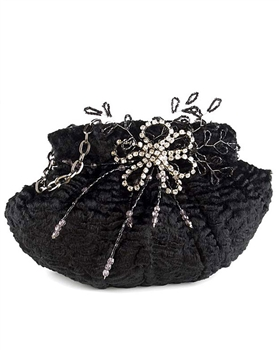 Menbur Black Faux Fur Evening Bag