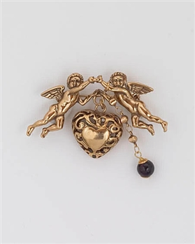 Alcozer Gold Brooch with Garnet Gemstone & Angels
