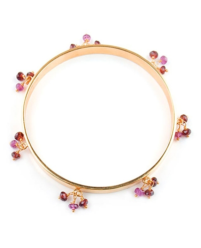 Gold Bangle Bracelet with with Red Garnet gemstones