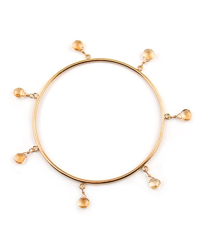 18K Gold Vermeil Bangle with Citrine Gemstones by Andrea Barna