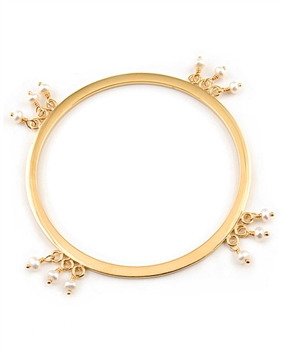 Gold Bangle Bracelet with Freshwater Pearls by Andrea Barna