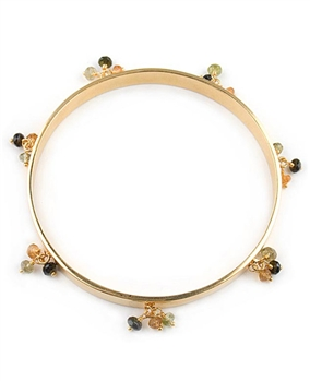 Gold Bangle Bracelet with gemstones