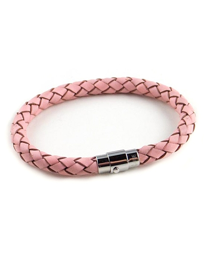Pink Woven Leather Bracelet