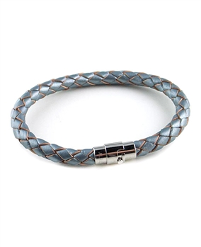 Silver Woven Leather Bracelet