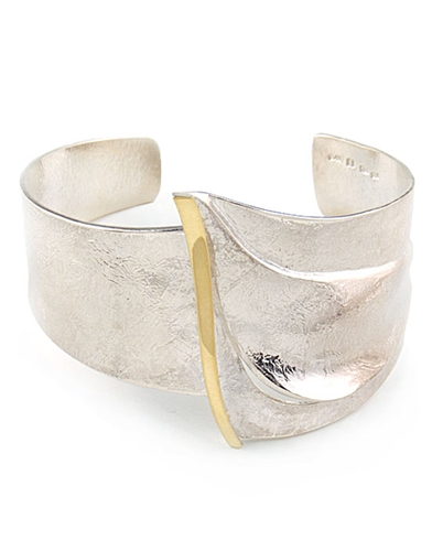 18K gold & Solid Sterling Silver Cuff Bracelet by Elefteriou