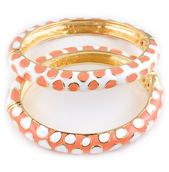 Kenneth Jay Lane Coral & White Bangle Bracelet