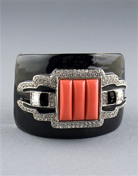 Black Art Deco Cuff Bracelet by Kenneth Jay Lane