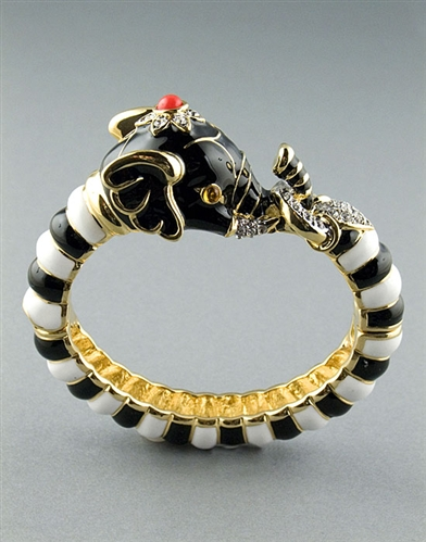 Black-White Elephant Cuff Bracelet by Kenneth Jay Lane