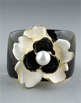 Black Flower Cuff Bracelet by Kenneth Jay Lane