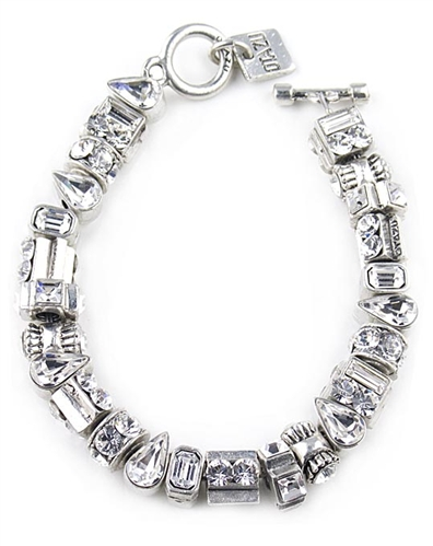 Otazu Silver Beads Bracelet with Swarovski Crystals