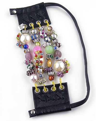 Otazu Leather Cuff Bracelet with Charms