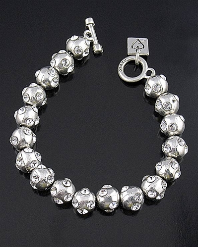 Otazu Silver Beads Bracelet with Crystals