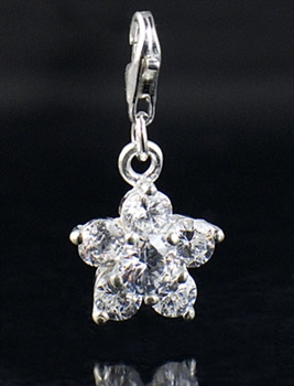 Sterling Silver and Cubic Zirconia flower Charm