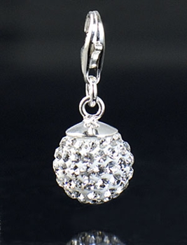 Sterling Silver Ball Charm with Crystals