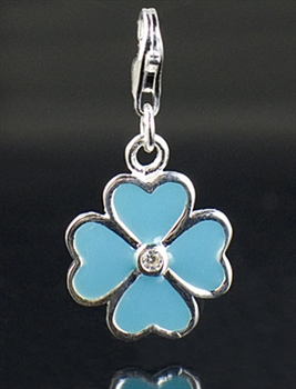 Sterling Silver Enamel Clove Charm with Cubic Zirconia
