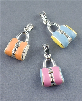 Sterling Silver Enamel Bag Charm