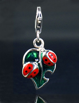 Sterling Silver Lady Bug and Leaf Enamel Charm