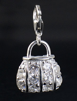 Sterling Silver and Cubic Zirconia Bag Charm