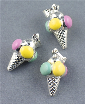 Sterling Silver Enamel Ice Cream Charm