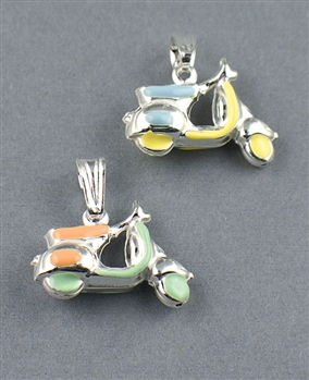 Sterling Silver Enamel Scooter Charm