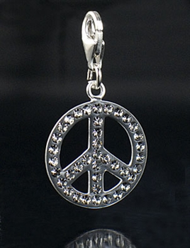 Sterling Silver Piece Charm with Black Crystal