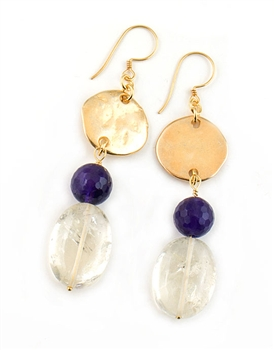 Gold Drop Earrings with Citrine and Amethyst