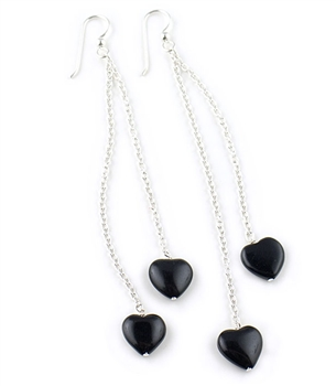Long Sterling Silver Earrings with Black Agate Hearts