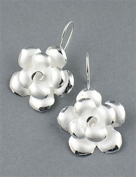 Sterling Silver Drop Flower Earrings by Chou - Exclusive