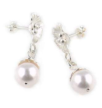Silver Drop Earrings with White Swarovski Pearls by Chou