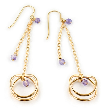 Gold Drop Earrings with Amethyst