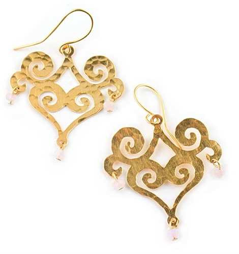 Gold Dangle Earrings with Pink Quartz
