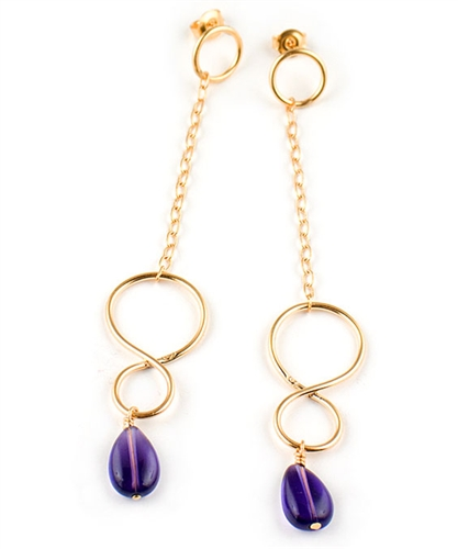 Long Gold Earrings with Amethyst Gemstones