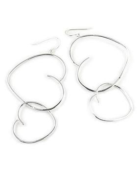 Large Silver Heart Hoop Earrings by Eloise Fiorentino