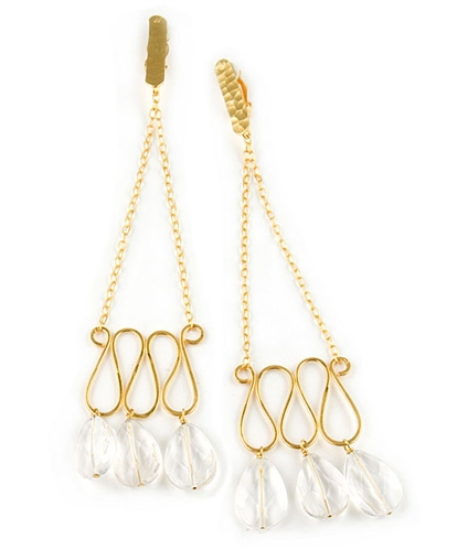 Gold Chandelier Earring and Rock Crystal gemstones