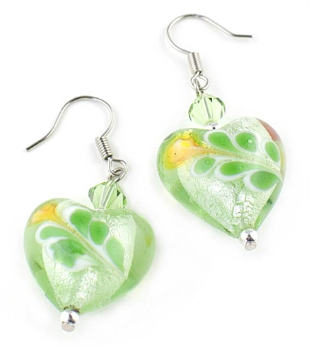 Green Murano Glass Drop Heart Earrings by Farfallina