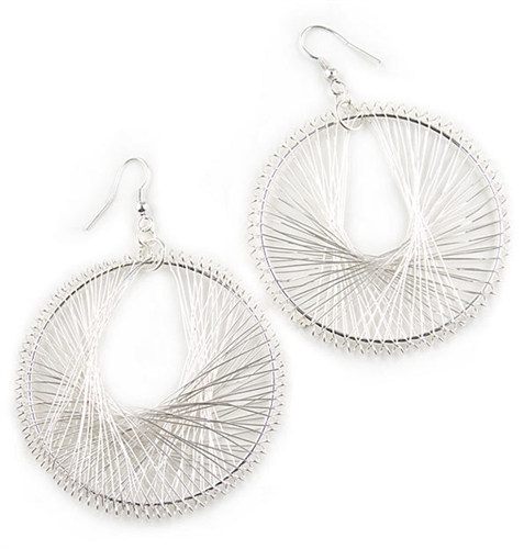 Silver Hoop Earrings by Farfallina